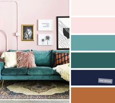 Blush Pink + Green Emerald + Navy Blue - Terracotta – The Best Living Room Color Schemes The living room is the place where friends and family gather to spend quality time in a home, so it's important for it to. Blue And Pink Living Room, Blush Living Room, Good Living Room Colors, Living Room Turquoise, Navy Blue Living Room, Living Room Color Schemes, Blue Rooms, Office Color Schemes, Interior Design Color Schemes