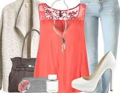 Freizeitoutfit mit Spitzentop ♥ Hier kaufen: http://www.stylefru.it/s33195 #Pumps #Cardigan #Jeans