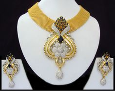 Indian CZ AD Gold & Silver Bollywood Famous Bridal Necklace Set Swam Jewelry 190