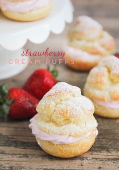 Strawberry cream puffs are simple to make and so delicious! Tender pastry shells filled with sweet strawberry cream for an elegant dessert. Elegant Desserts, Just Desserts, Delicious Desserts, Dessert Recipes, Profiteroles, Eclairs, Cream Puff Filling, Desserts Ostern, Cupcake Cakes