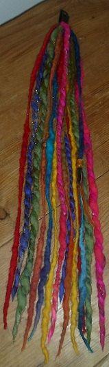 Rainbow Dreadlocks Clip In Dreads Felted Wool by tinkertailoruk, $21.00