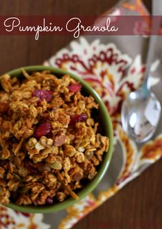 Sweet and crunchy homemade  gluten-free pumpkin granola.