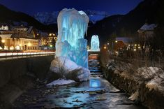 Ice fountains in Ortisei South Tyrol, Italy. Landscape photography by Mauro Malona.