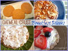 Oatmeal Crust Breakfast Pizzas are a new spin on your favorite bowl of oatmeal. Half cookie, half pizza, they are a healthy way to start your day!