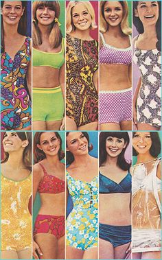 Mod •~• vintage Jantzen bathing suits, 1967 vintage fashion print ad color models magazine bikini summer casual 60s style green yellow red blue floral print