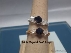 6 MM Jet and Crystal AB Bead Ring by BobsFashionJewelry on Etsy