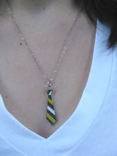 Yellow Rory Tie Charm Necklace - Quirky Necktie Silver Chain Necklace. $10.00, via Etsy.