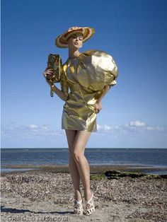 Gold leather dress Fernando Garcia  designs miami beach florida fashion