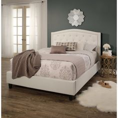 Abbyson Hampton Ivory Tufted Upholstery Platform Bed   Overstock.com Shopping - The Best Deals on Beds