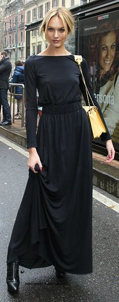 Long sleeved black maxi.
