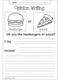 Free Kindergarten Opinion Writing Worksheet