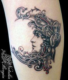 Gypsy Moon by Natalia Borgia Sun Tattoos, Pin Up Tattoos, Body Art Tattoos, I Tattoo, Gypsy Tattoos, Creative Tattoos, Unique Tattoos, Beautiful Tattoos, Cool Tattoos