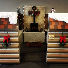 "2013 Christmas Cubicle - A cozy and rustic ""Holiday Hideaway"""
