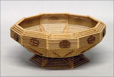 Popsicle Stick House   ... Auctions Image 1 TRAMP ART CARVED WOOD AND POPSICLE STICK BASKET