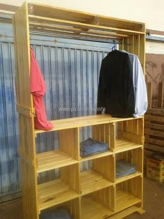 pallets shelving and hanger idea