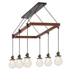 Baltimore 6-Light Chandelier Wood Rectangle A0802