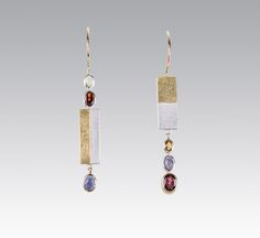 Sterling silver, 18 KT yellow gold, Peridot, Garnet, Citrine, and Iolite Earrings | Janis Kerman Design