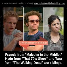 """Francis from """"Malcolm in the Middle,"""" Hyde from """"That 70's Show"""" and Tara from """"The Walking Dead"""" are siblings. and like OMG! get some yourself some pawtastic adorable cat shirts, cat socks, and other cat apparel by tapping the pin!"""