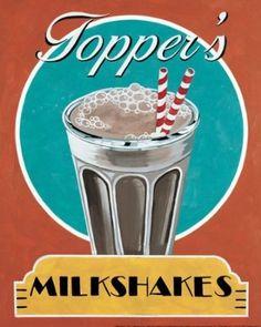 Posterartnow Milkshakes Lovely 50S Ad Beautiful Retro Best Classic Painting Amazing Shop Milkshake Poster 8X10: Amazon.co.uk: Kitchen & Home...