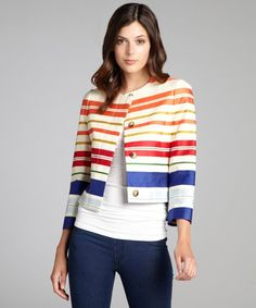 Stella McCartney tan striped cotton-linen-silk blend shrunken jacket