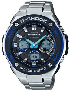 Casio Mens G-Shock G-Steel Solar Watch - Ana-Digi - Blue and Black Dial - 200M