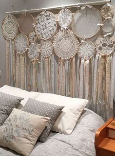 dream catcher catches dreams headboard bohemian decoration bedroom decoration headboard style bohemian chic ethnic decorative object Source by rhinov_ Dream Catcher Decor, Lace Dream Catchers, Dream Catcher Boho, Bohemian Decoration, Decoration Bedroom, Diy Home Decor, Home Crafts, Diy And Crafts, Doilies Crafts