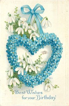 Forget-Me-Nots Heart Hangs From Blue Ribbon~Snowdrop Lilies~Emboss~Nash Serie 25 | eBay