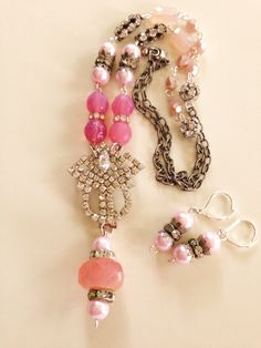 Cotton Candy - a vintage antique silver necklace and earrings by MadeByJimmisDaughter on Etsy