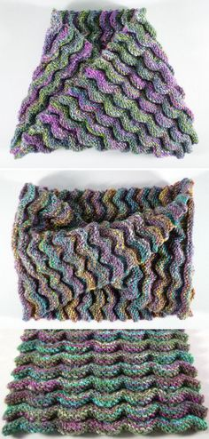 Free Knitting Pattern for Elemental Cowl - The 3 dimensional texture of wavy ripples on this cowl are easy to knit according to the designer, Frankie Brown, with most of the rows being just knit or purl. Knit in one strip and then twisted and joined to make a moebius cowl.