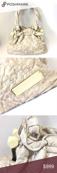 Louis Vuitton Olympe Stratus PM Storm gray polished and quilted monogram leather (between light gray and cream). Features thick twisted leather straps with geometric knob ends and gold hardware. Includes date code, dust bag and original purchase receipt! Louis Vuitton Bags Shoulder Bags