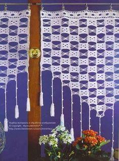 "Photo from album ""Crochet Creations Hors-serie 24 Rideaux"" on Yandex. Crochet Curtain Pattern, Crochet Curtains, Curtain Patterns, Lace Curtains, Crochet Flower Patterns, Crochet Art, Crochet Stitches Patterns, Crochet Home, Filet Crochet"