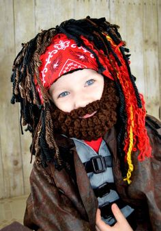 Pirate Wig  *this listing is for the hat and beard only--costume not included  • Handmade with 100% acrylic specialty yarns • Durable—yarn is securely woven into a snug fitting beanie that stops at the natural hairline • Stays on without pins, bands or glue • Warm and comfortable • The beard is Pirate Kids, Pirate Halloween Costumes, Halloween Party, Matching Costumes, Princess Costumes, Wild Hair, Hairline, Photo Props, Beanie