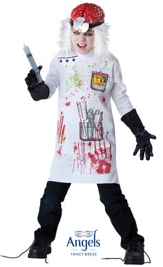 Mwahhahahaha go crazy this Halloween with this mad scientist costume, this pack contains lab coat with gory graphic detail, vinyl brain with attached wig and gloves. http://www.fancydress.com/costumes/Mad-Scientist/0~4335180~43