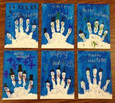 Handprint snowmen on canvases!