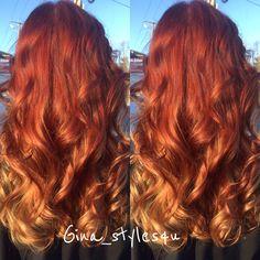 Cinnamon Spice Copper red hair balayage hair painting color melt MilkshakeUSA  Creative Permanent Hair Color long hair curls hair by Instagram-> Gina_styles4u
