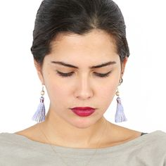 Tassels and Pearls - the 100% Handmade Breakfast at Tiffany's Inspired 24karat Gold Plated Earrings in Violet Purple
