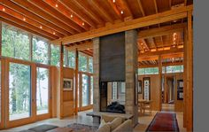 Very interesting house—check out the other pictures on the site—I like the clear geometry, clear structure, clear materials. Architecture Plan, Residential Architecture, Architecture Details, Ideas Cabaña, Ideas Para, Rammed Earth Wall, Pole Barn Homes, House In The Woods, Decoration