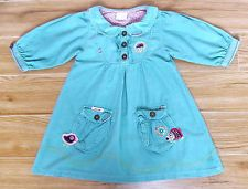 "GIRLS NEXT TEAL CORD ""HEDGEHOG"" DRESS AGE 2-3 YEARS WINTER TUNIC POCKET BIRD"