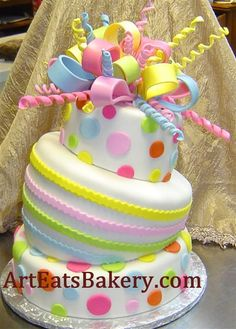 Google Image Result for http://arteatsbakery.com/images/Three%2520tier%2520mad%2520hatter%2520or%2520topsy%2520turvy%25201st%2520birthday%2520cake%2520with%2520pink,%2520orange,%2520blue,%2520yellow%2520and%2520green%2520polka%2520dots%2520and%2520bow.jpg