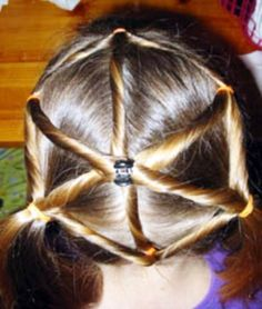 Kids hairstyle - spider web.. thi would be so cute for a witch Halloween costume!