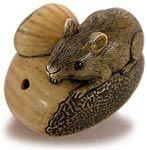 Antique Mouse on Chestnut  Japanese Netsuke Signed Yukimasa