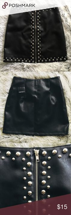 "Forever 21 | Faux Leather | Mini Skirt Lining is 100% polyester | Backing is 91% polyester 7% cotton 2% viscose. | Roughly 15.25"" long.  A true Small. Would fit a 24 possibly 25. Forever 21 Skirts Mini"