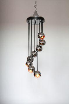 CASCADING 8 CHROME BALL chandelier / pendant by VINTAGELAMPDEN
