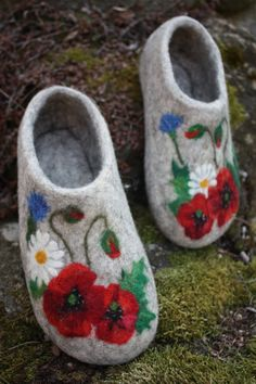 Felted Slippers Meadow flowers by IrinaU on Etsy