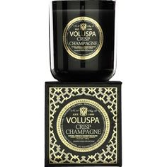 Voluspa Maison Ambre Lumiere Candle Made with Natural Apricot & Coconut wax. Fragrance: A Warm Exotic Mixture of Warm Amber, Vanilla Benzoin and Indonesian Patchouli Size: 12 Oz, 100 Hr. Voluspa Candles, Scented Candles, Home Scents, Home Fragrances, Champagne Box, Champagne Gifts, Black Fig, Black Gold, Candle Box