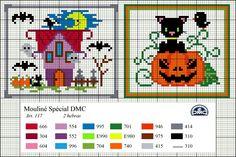 Dmc free pattern cross stitch Halloween haunted house pumpkin cute