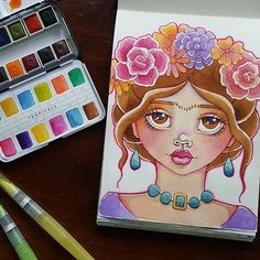 Last night's journal play and I think my little Frida is quite adorable. Love the colours too. Look at those bright pinks and purples!  #PrimaDTCall #watercolour #watercolor #artjournal #artjournaling #couchjournaling