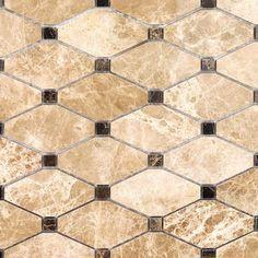 Ivy Hill Tile Diapson Light Emperador with Dark Emperador Dot 10 in. x 10 mm Polished Marble Mosaic Tile, Brown / Polished Shower Backsplash, Splashback Tiles, Travertine Backsplash, Kitchen Backsplash, Backsplash Ideas, Natural Stone Backsplash, Kitchen Floor, Kitchen Redo, Kitchen Countertops