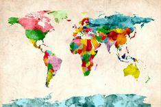 Michael Tompsett 'Watercolor World Map' Canvas Art - Overstock™ Shopping - Top Rated Trademark Fine Art Canvas Watercolor World Map, Watercolor Canvas, Watercolour, World Map Art, World Map Canvas, Canvas Wall Art, Canvas Prints, Big Canvas, Canvas Size