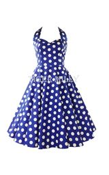 Hell Bunny 50's Mariam Polka Dot Dress Blue & White UK Size 8-22
